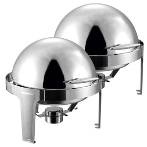 SOGA 2X 6L Stainless Steel Chafing Food Warmer Catering Dish Round Roll Top