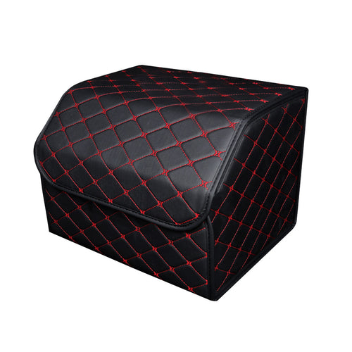 SOGA Leather Car Boot Collapsible Foldable Trunk Cargo Organizer Portable Storage Box Black/Red Stitch Medium