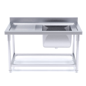 SOGA Stainless Steel Work Bench Right Sink Commercial Restaurant Kitchen Food Prep 120*70*85