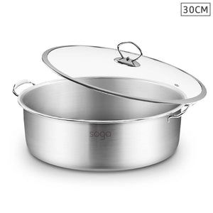 SOGA Stainless Steel Casserole With Lid Induction Cookware 30cm