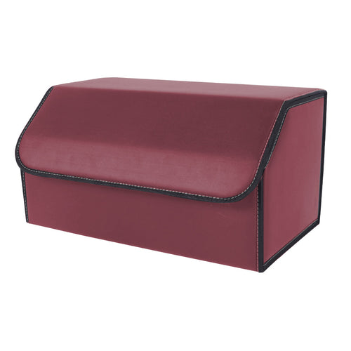 SOGA Leather Car Boot Collapsible Foldable Trunk Cargo Organizer Portable Storage Box Red Large