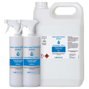 5L and 2X 500ML Standard Grade Disinfectant Anti-Bacterial Alcohol Spray Bottle Refill Kit