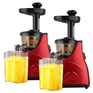 SOGA 2X Slow Juicer Premium Masticating Electric Vegetable Juice Extractor Red
