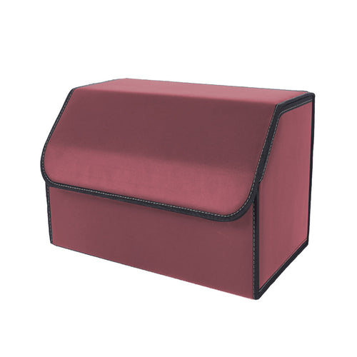 SOGA Leather Car Boot Collapsible Foldable Trunk Cargo Organizer Portable Storage Box Red Medium