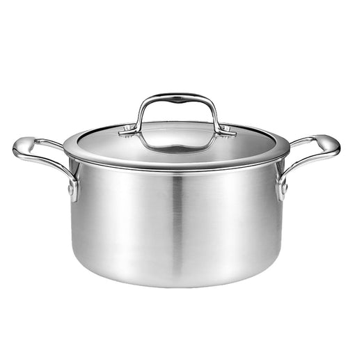 SOGA 26cm Stainless Steel Soup Pot Stock Cooking Stockpot Heavy Duty Thick Bottom with Glass Lid