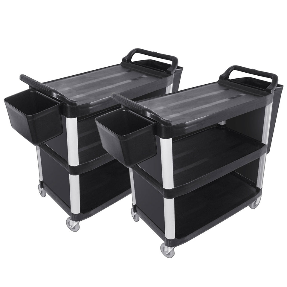 SOGA 2X 3 Tier Covered Food Trolley Food Waste Cart Storage Mechanic Kitchen with Bins
