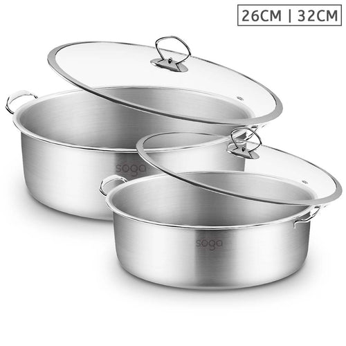SOGA Stainless Steel 26cm 32cm Casserole With Lid Induction Cookware