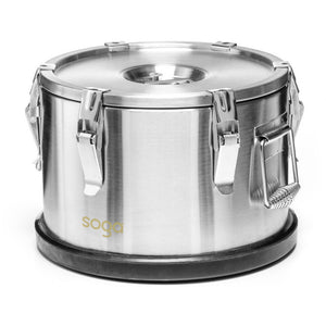 SOGA 10L 304 Stainless Steel Insulated Food Carrier Warmer Container with Anti Slip Rubber Bottom