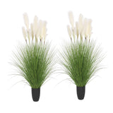 SOGA 2X 137cm Green Artificial Indoor Potted Bulrush Grass Tree Fake Plant Simulation Decorative