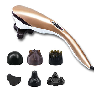 SOGA 6 Heads Portable Handheld Massager Soothing Stimulate Blood Flow Shoulder Gold