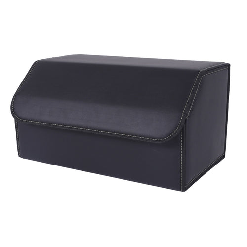SOGA Leather Car Boot Collapsible Foldable Trunk Cargo Organizer Portable Storage Box Black Large