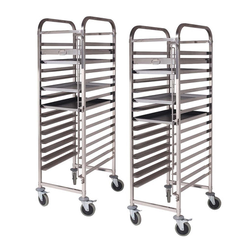 SOGA 2x Gastronorm Trolley 16 Tier Stainless Steel Cake Bakery Trolley Suits 60*40cm Tray