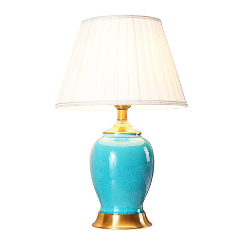 SOGA Ceramic Oval Table Lamp with Gold Metal Base Desk Lamp Blue