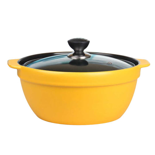 3.5L Ceramic Casserole Stew Cooking Pot with Glass Lid Yellow