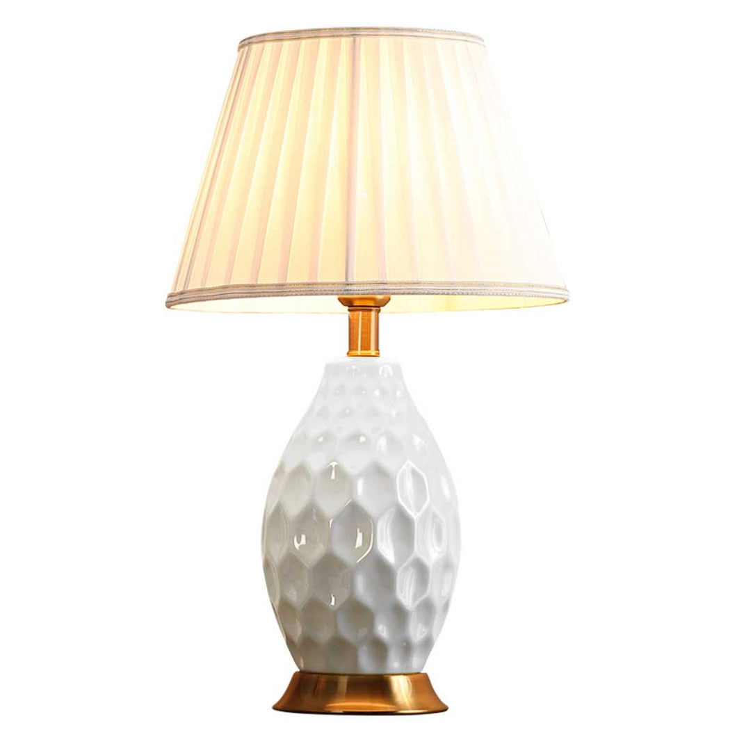 SOGA Textured Ceramic Oval Table Lamp with Gold Metal Base White
