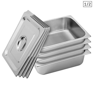 SOGA 4X Gastronorm GN Pan Full Size 1/2 GN Pan 10cm Deep Stainless Steel Tray With Lid