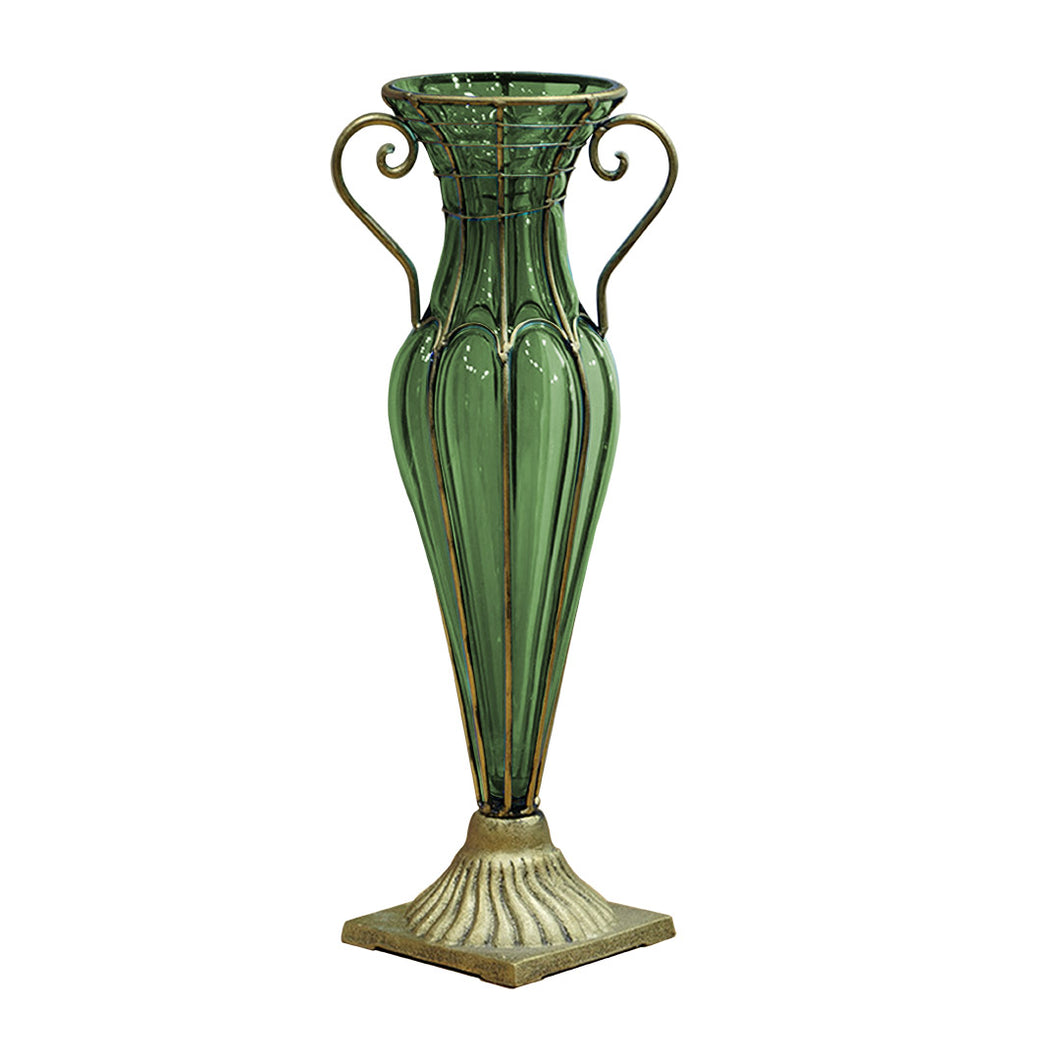 SOGA Green Colored European Glass Flower Vase Solid Base with Two Gold Metal Handle
