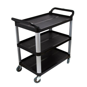 SOGA 3 Tier Food Trolley Food Waste Cart Storage Mechanic Kitchen Black 83.5x43x95cm Small