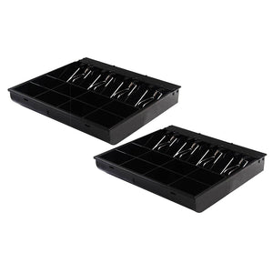 SOGA 2X 4 Bills 8 Coins Spare Cash Tray Black Heavy Duty