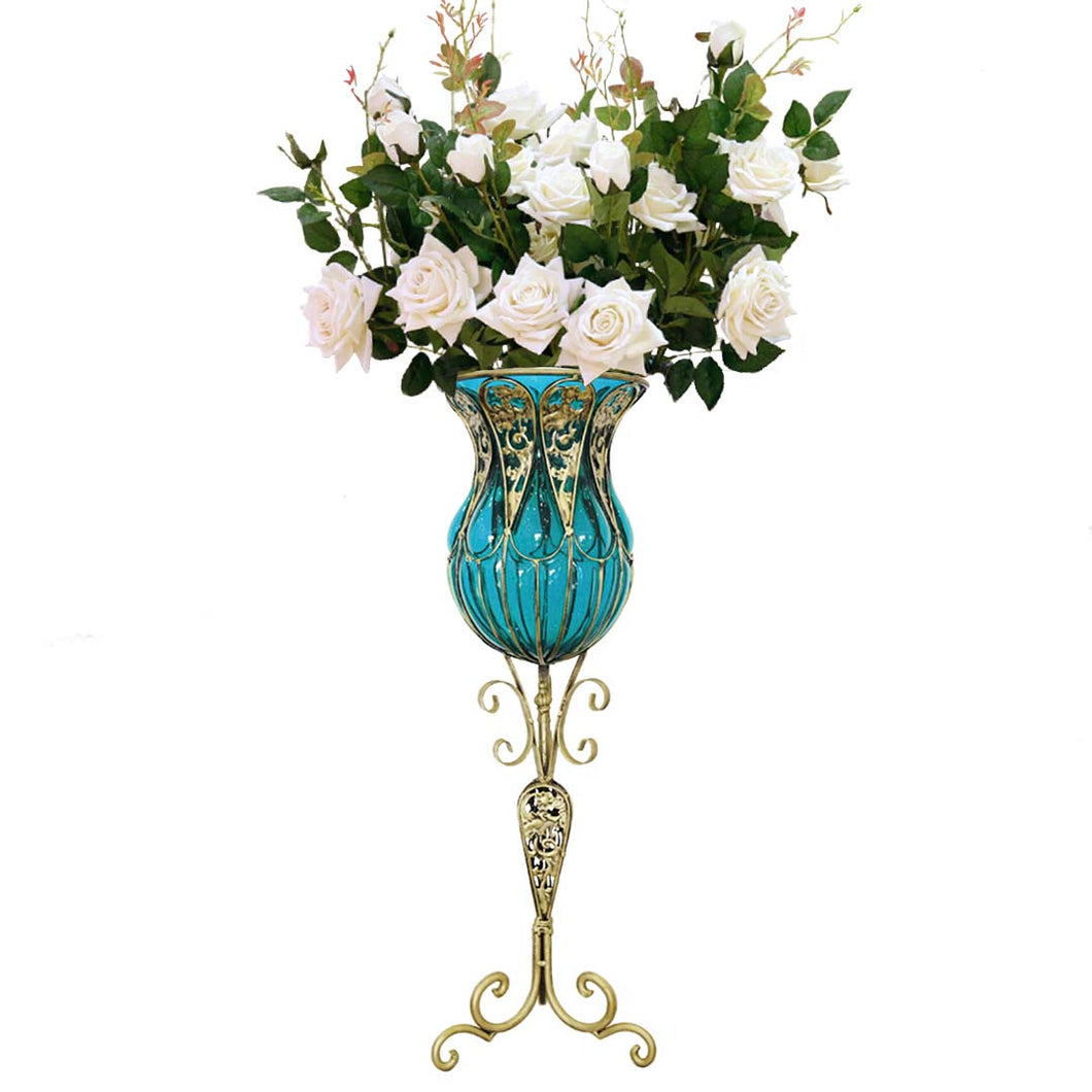 SOGA 85cm Blue Glass Tall Floor Vase and 12pcs White Artificial Fake Flower Set