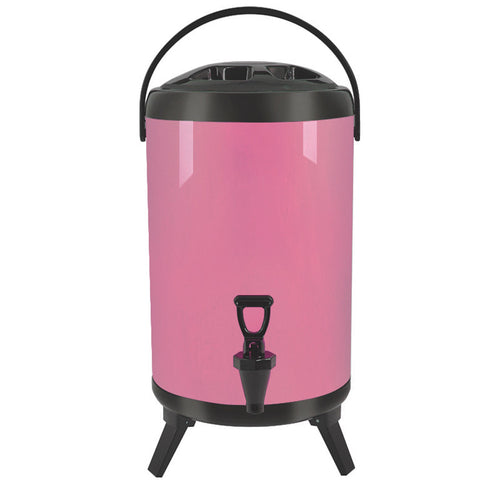 SOGA 12L Stainless Steel Insulated Milk Tea Barrel Hot and Cold Beverage Dispenser Container with Faucet Pink
