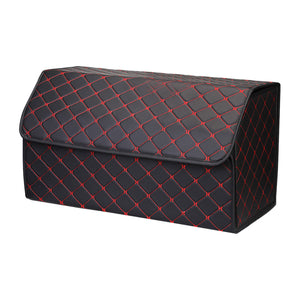 SOGA Leather Car Boot Collapsible Foldable Trunk Cargo Organizer Portable Storage Box Black/Red Stitch Large