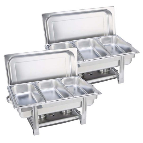 SOGA 2X Stainless Steel Chafing Triple Tray Catering Dish Food Warmer