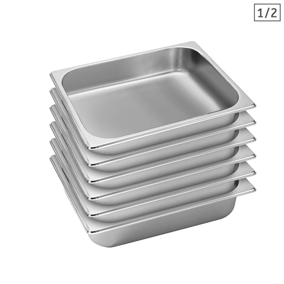 SOGA 6X Gastronorm GN Pan Full Size 1/2 GN Pan 6.5cm Deep Stainless Steel Tray