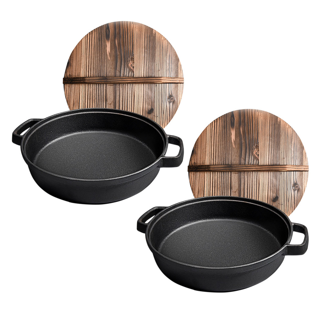 SOGA 2X 29cm Round Cast Iron Pre-seasoned Deep Baking Pizza Frying Pan Skillet with Wooden Lid