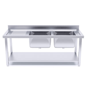 SOGA Stainless Steel Work Bench Right Dual Sink Commercial Restaurant Kitchen Food Prep Table 160*70*85