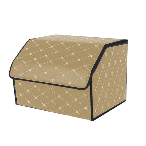 SOGA Leather Car Boot Collapsible Foldable Trunk Cargo Organizer Portable Storage Box Beige/Gold Stitch Medium