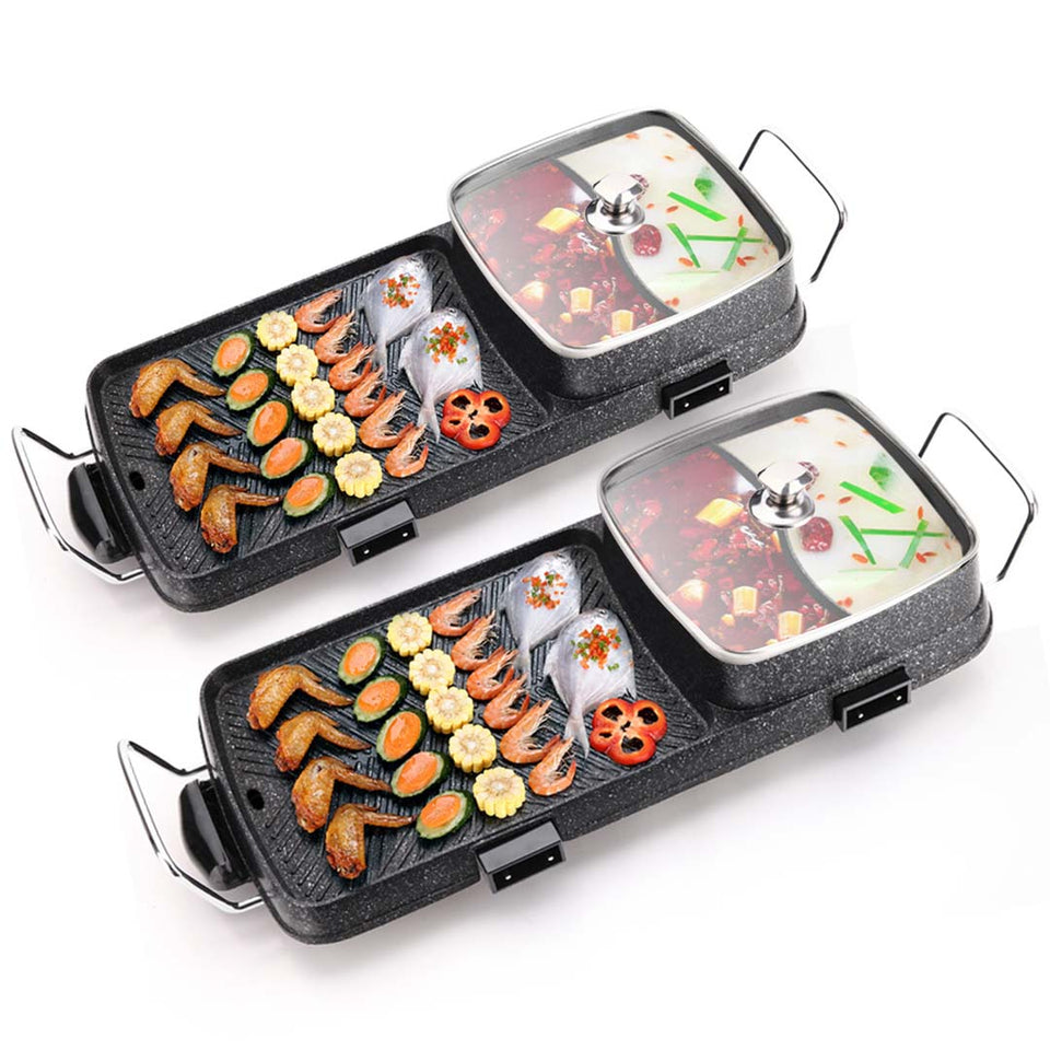 SOGA 2X 2 in 1 Electric BBQ Grill Teppanyaki and Steamboat Hotpot Asian Hot Pot