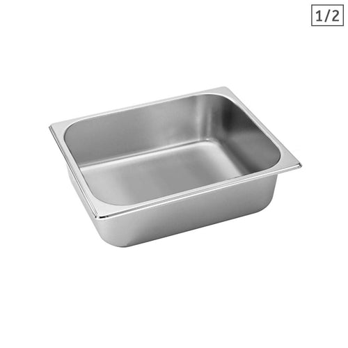 SOGA Gastronorm GN Pan Full Size 1/2 GN Pan 10cm Deep Stainless Steel Tray