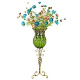 SOGA 85cm Green Glass Tall Floor Vase and 12pcs Blue Artificial Fake Flower Set