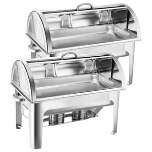 SOGA 2X 9L Stainless Steel Full Size Roll Top Chafing Dish Food Warmer