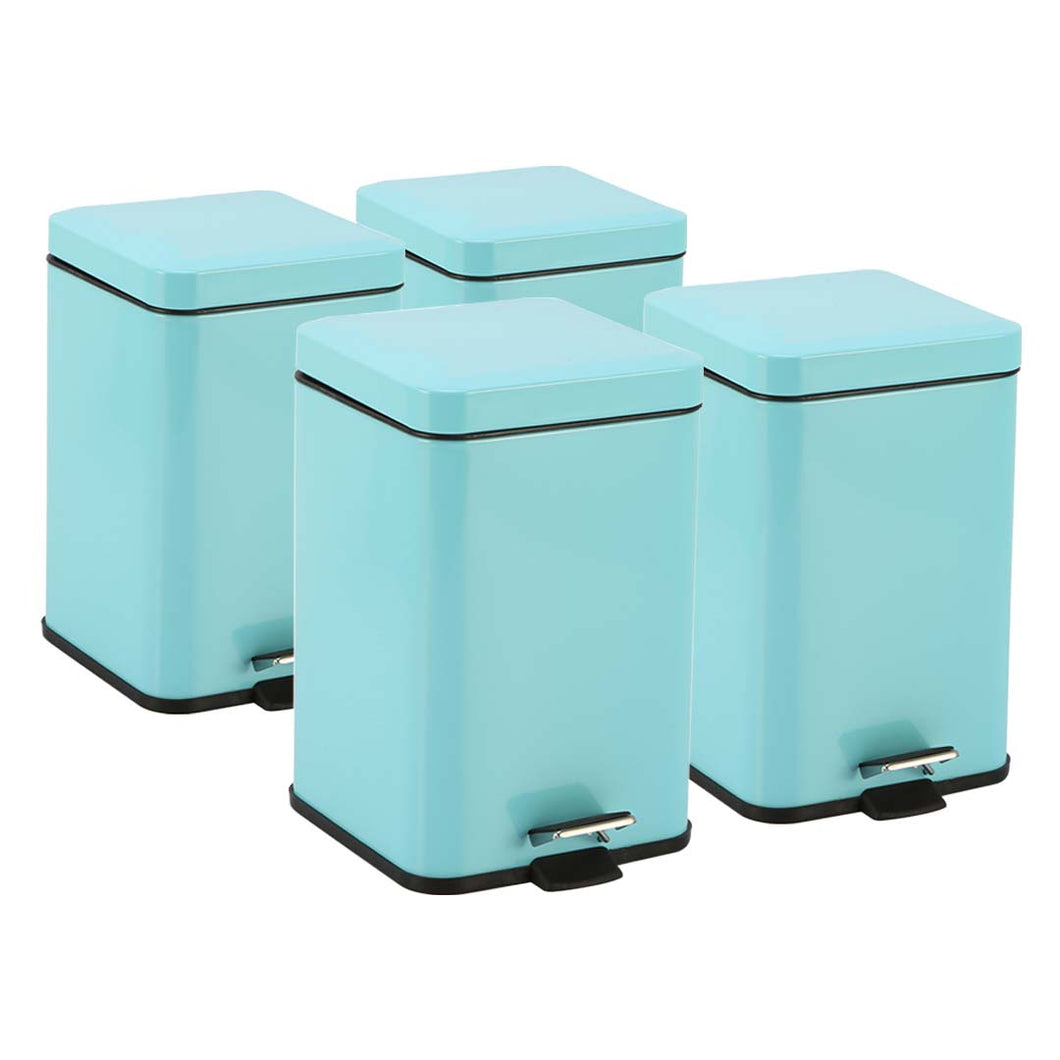 SOGA 4X Foot Pedal Stainless Steel Rubbish Recycling Garbage Waste Trash Bin Square 12L Blue