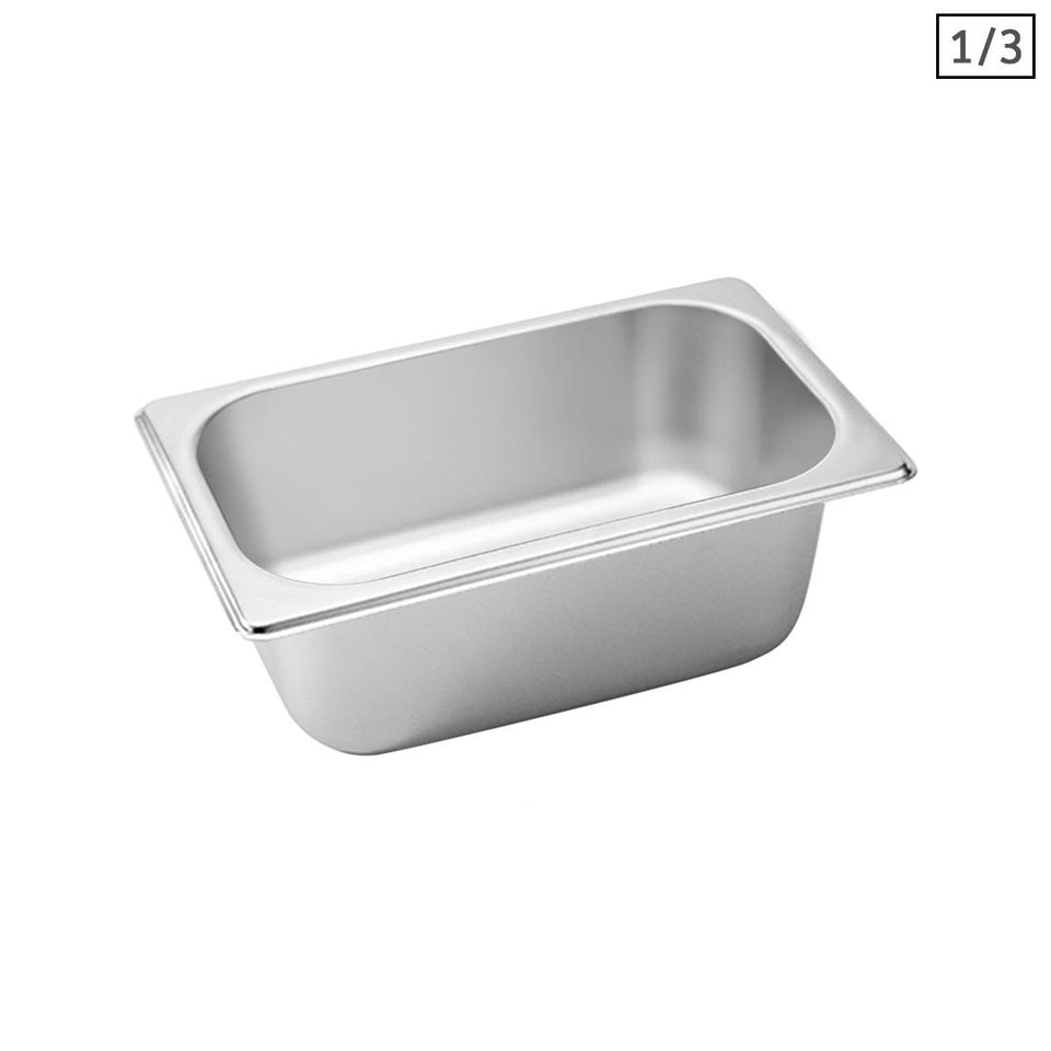 SOGA Gastronorm GN Pan Full Size 1/3 GN Pan 10cm Deep Stainless Steel Tray