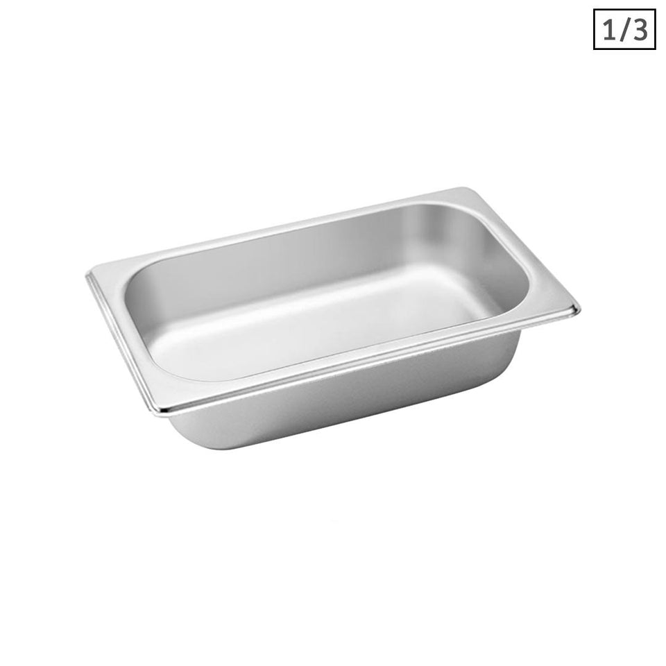 SOGA Gastronorm GN Pan Full Size 1/3 GN Pan 6.5 cm Deep Stainless Steel Tray