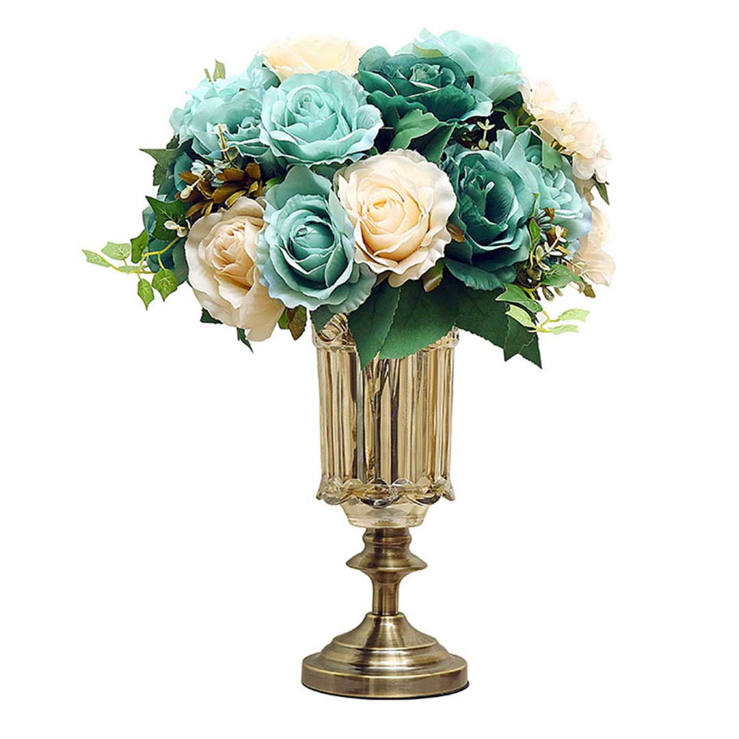 SOGA 28.5cm Transparent Glass Flower Vase Filler with Blue Flower Set