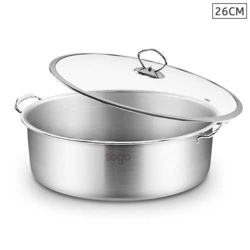 SOGA Stainless Steel Casserole With Lid Induction Cookware 26cm