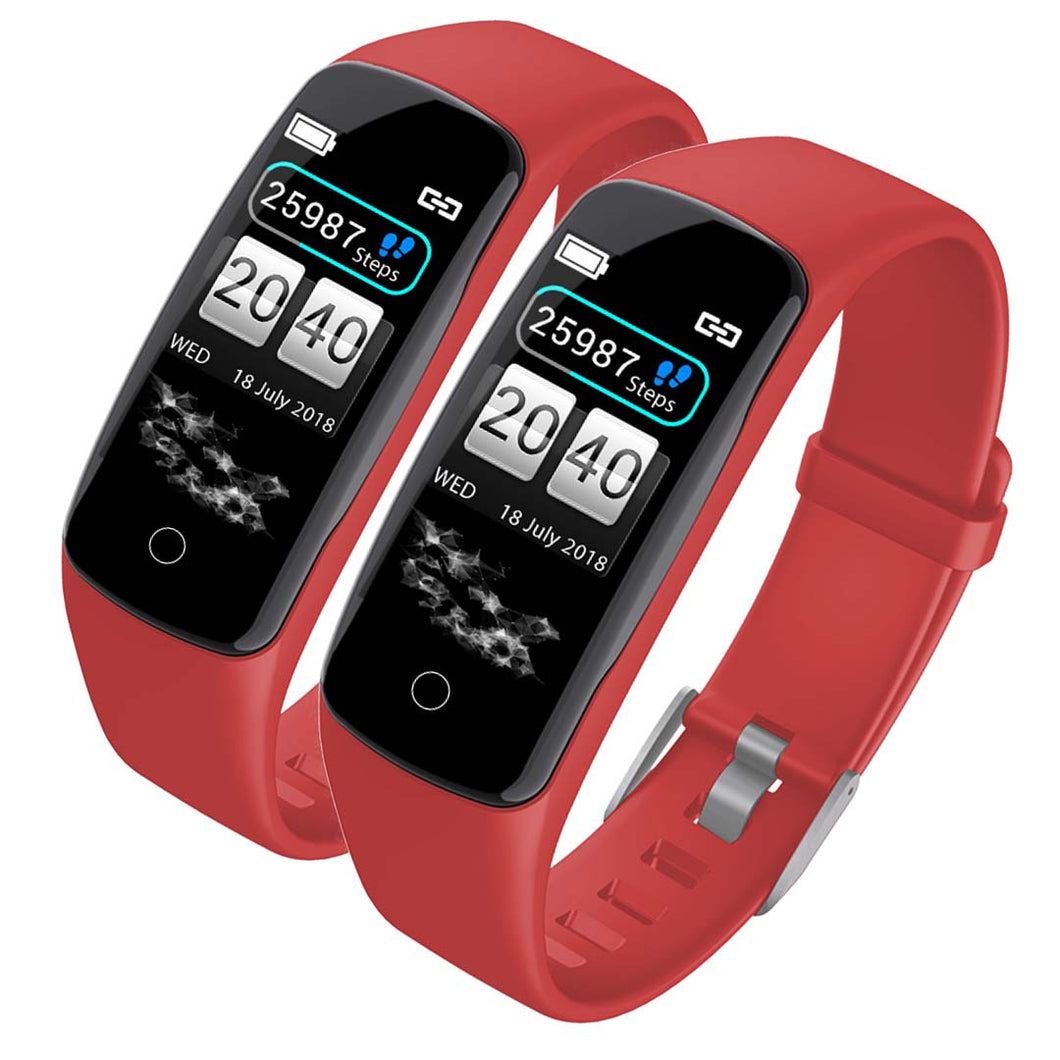 SOGA 2x Sport Monitor Wrist Touch Fitness Tracker Smart Watch Red