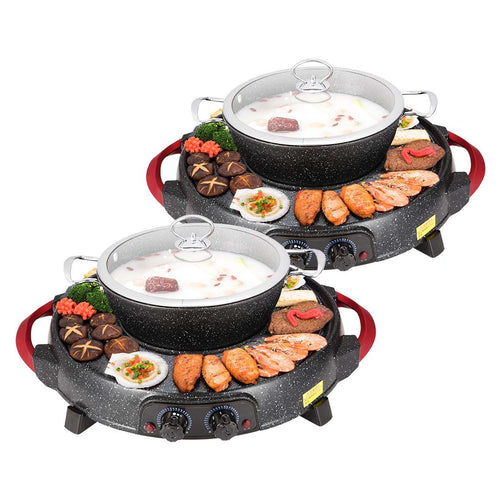SOGA 2X 2 in 1 Electric Stone Coated Teppanyaki Grill Plate Steamboat Hotpot