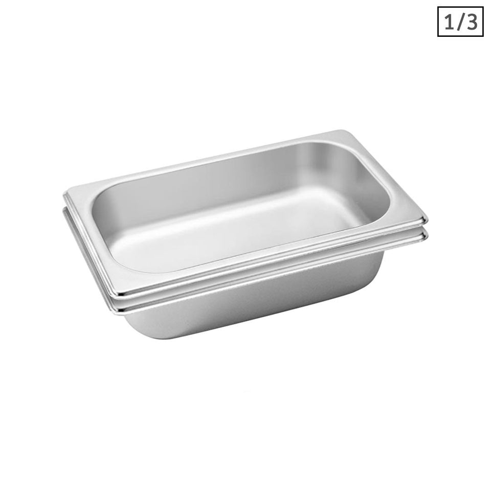 SOGA 2X Gastronorm GN Pan Full Size 1/3 GN Pan 6.5 cm Deep Stainless Steel Tray