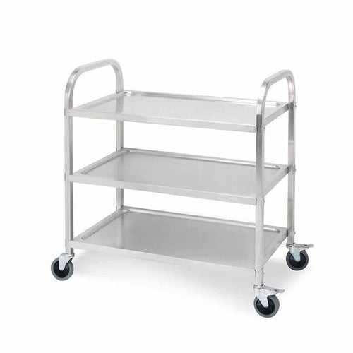 SOGA 3 Tier Stainless Steel Kitchen Dinning Food Cart Trolley Utility Size 75x40x83.5cm Small