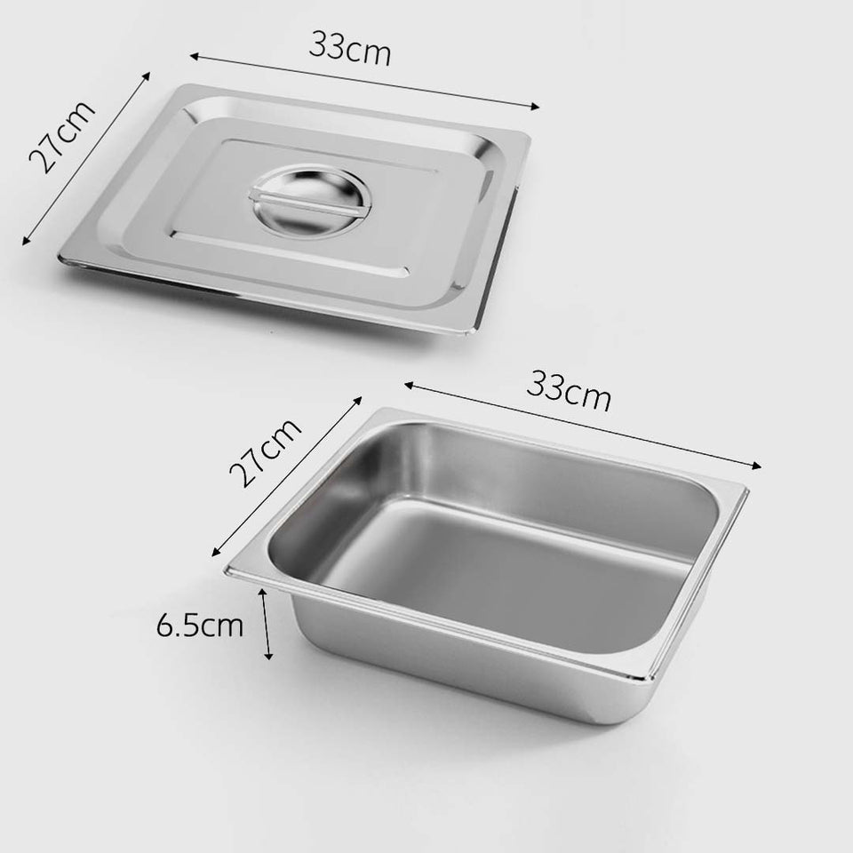 SOGA Gastronorm GN Pan Full Size 1/2 GN Pan 6.5cm Deep Stainless Steel Tray With Lid