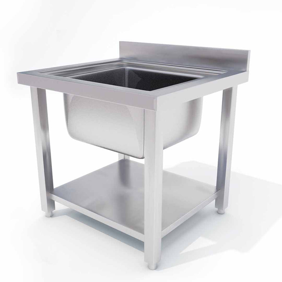 SOGA Commercial Kitchen Sink Work Bench Stainless Steel Food Prep Table 70*70*85cm