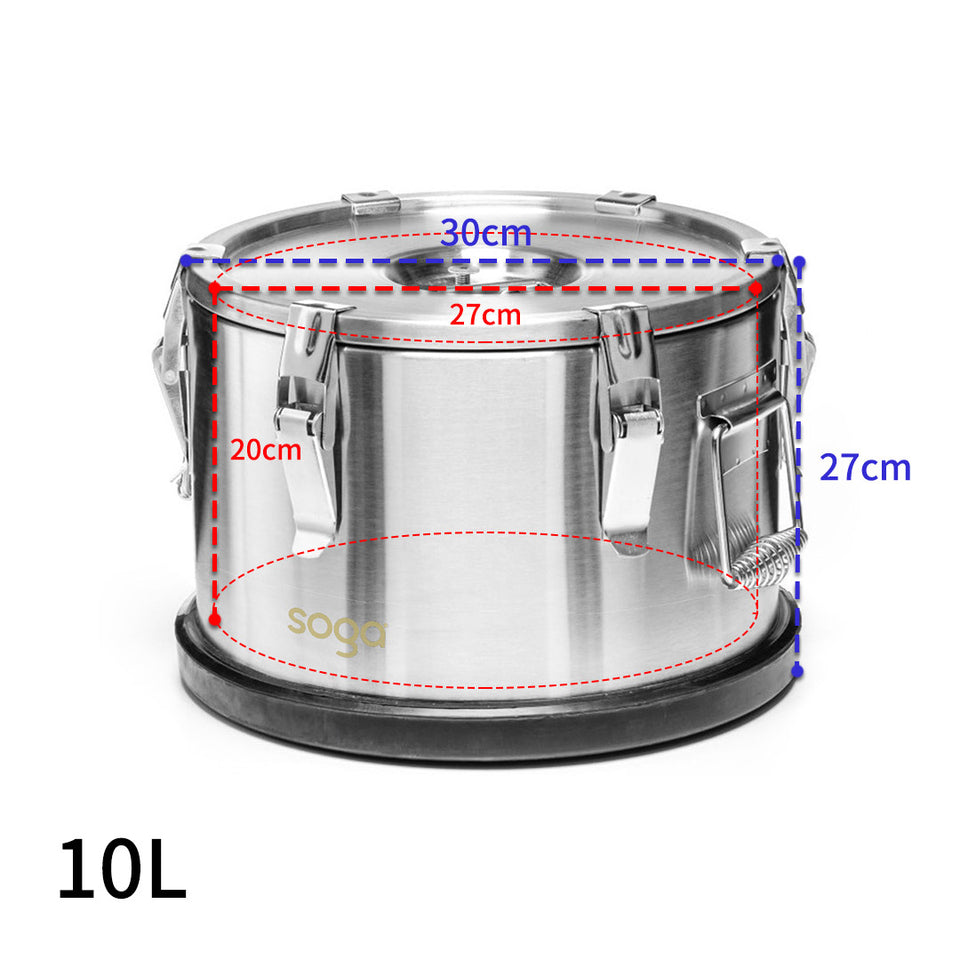 SOGA 2X 10L 304 Stainless Steel Insulated Food Carrier Warmer Container with Anti Slip Rubber Bottom