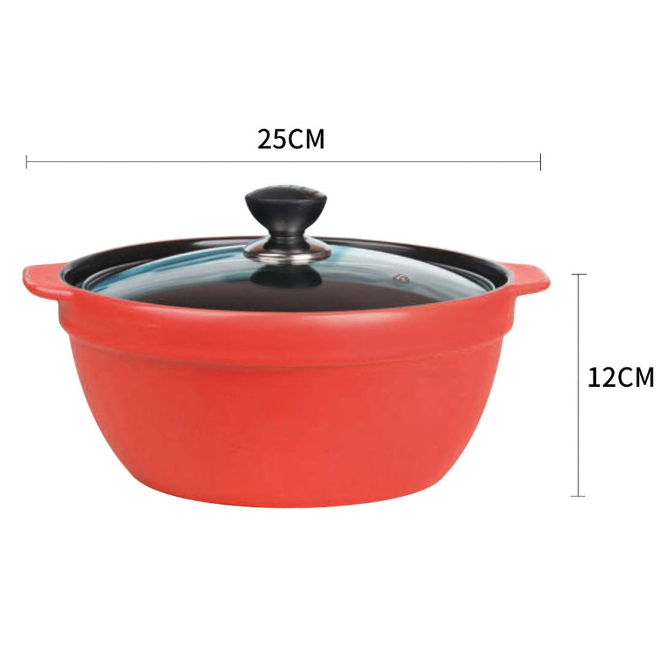 2X 3.5L Ceramic Casserole Stew Cooking Pot with Glass Lid Red