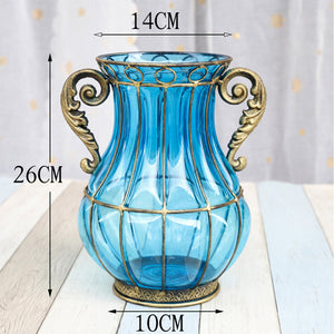 SOGA Blue Colored Glass Flower Vase with 10 Bunch 6 Heads Artificial Fake Silk Rose Home Decor Set