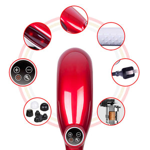 SOGA 6 Heads Portable Handheld Massager Soothing Stimulate Blood Flow Shoulder Red